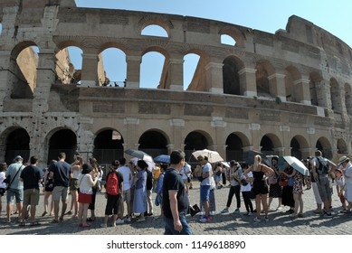 Rome. Italy. August, 5th, 2018 First Sunday of the month, free admission to state museums.Colosseum, tourists queued up in the sun, for the entrance to the Colosseum