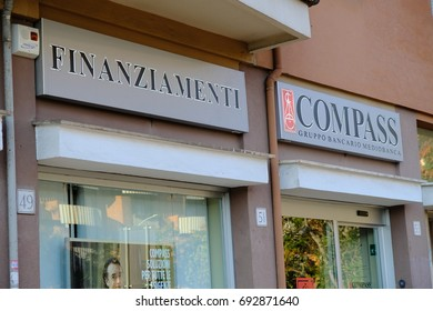 Rome, Italy - August 6, 2017: Compass branch. Compass is an Italian financial company owned by the Mediobanca group specialized in consumer credit (personal and final loans, credit cards)