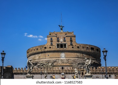 ROME, ITALY - AUGUST 8, 2016: View of Castle of Holy Angel (Saint Angelo Castle). Built in II century as a mausoleum for Emperor Hadrian, Castel Sant'Angelo was later transformed into a large castle.