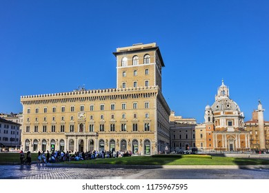 ROME, ITALY - AUGUST 8, 2016: View of Venice Square (Piazza Venezia). Piazza Venezia is located in heart of Rome, surrounded by several landmarks, including Palazzo Venezia and Vittoriano Monument.