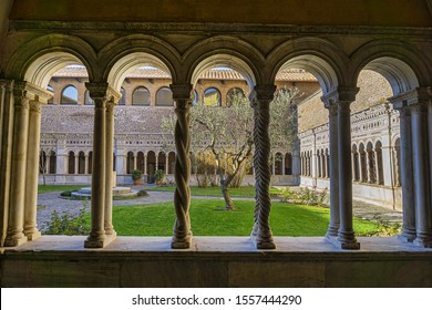 ROME, ITALY - AUGUST 8, 2016: Lateran cloiester in Papal Archbasilica of St. John Lateran (Arcibasilica Papale di San Giovanni in Laterano) - official ecclesiastical seat of the Bishop of Rome.