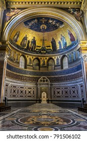 ROME, ITALY - AUGUST 8, 2016: Interior of Papal Archbasilica of St. John Lateran (Arcibasilica Papale di San Giovanni in Laterano) - official ecclesiastical seat of the Bishop of Rome.