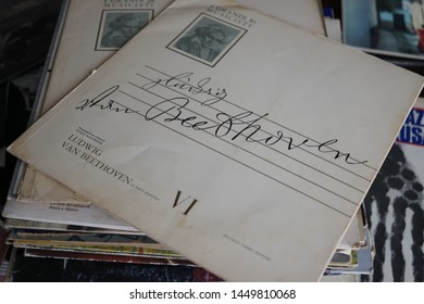 Rome, Italy - August 8, 2018: Vintage vinyl record by the German composer Ludwig van Beethoven