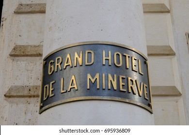 Rome, Italy - August 9, 2017: Minerva Hotel plate. Among the 5 star luxury hotels in Rome, Grand Hotel de la Minerve is housed in a magnificent mansion dating from the 1600's
