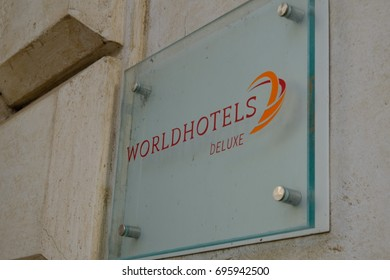 Rome, Italy - August 9, 2017: Worldhotels plate. The global brand brings together 350 of the world's most unique independent hotels