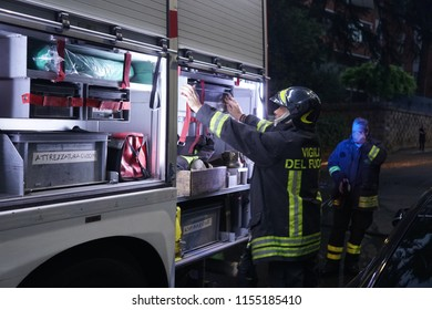 Rome, Italy - August 9, 2018: Italian firefighters in action. The vigili del fuoco, literally the Firewatchers, is Italy's institutional agency for fire and rescue service