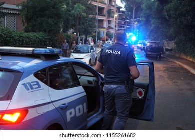 Rome, Italy - August 9, 2018: Italian police in action. The Polizia di Stato is one of the national police forces of Italy, the main police force for providing police duties