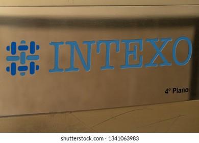 Rome, Italy - August 9, 2018: Signage of Intexo Srl, Italian company focused on regulatory affairs, pricing, reimbursement and market access