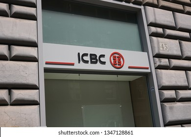 Rome, Italy - August 9, 2018: ICBC branch. Industrial and Commercial Bank of China is a Chinese multinational banking company, the largest bank in the world by assets and market capitalization