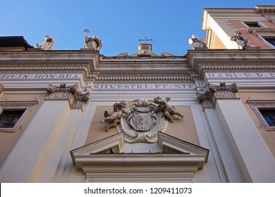 ROME, ITALY, Basilica of Saint Sylvester the First , the street façade  with the Mandylion an ancient icon of Christ