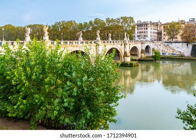 Rome, Italy. Bridge of Angels (Ponte Sant'Angelo) a public Roman pedestrian bridge in Vatican City spanning Tiber River. Originally it was known as Pons Aelius (Aelian Bridge) or Bridge of Hadrian.