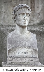Rome, Italy. Bust statue of Horace, famous Roman lyric poet. Sculpture in Villa Borghese park.