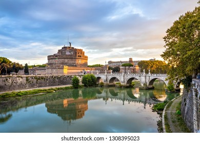 Rome, Italy. Castel Sant'Angelo and bridge over Tiber river in the morning