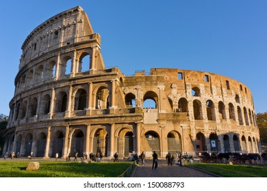ROME, ITALY - Circa 2012.  Tourists at the colloseum, one of the most visited landmark in the world.