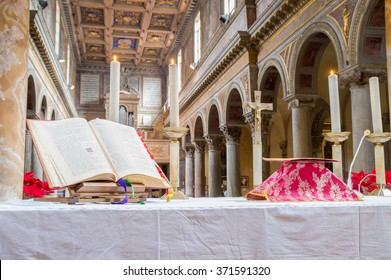 ROME, ITALY - CIRCA JANUARY 2016 - Altar with covered chalice and Missal during a traditional extraordinary form old latin rite Mass in the basilica of St Nicholas in Rome