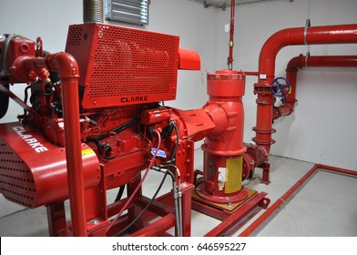 ROME, ITALY - CIRCA MARCH 2017: fire pump room part of a fire sprinkler system water supply