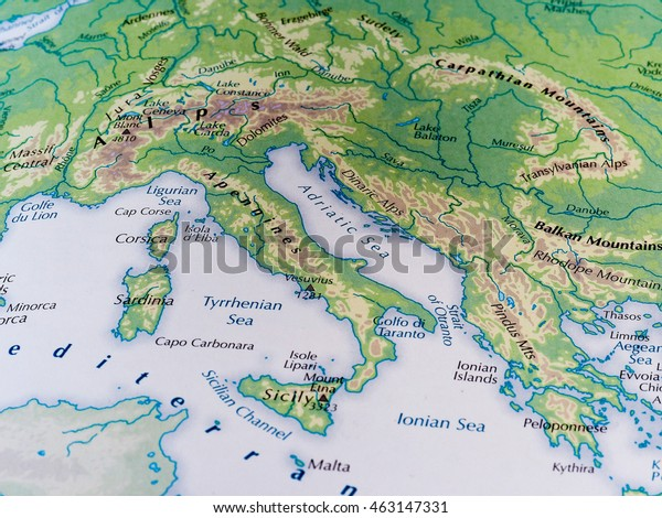 Map Of Italy With Mountains.Rome Italy Circa May 2016 Map Stock Photo Edit Now 463147331