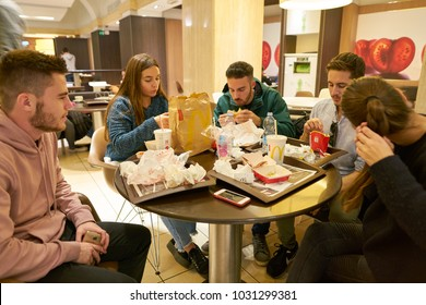 ROME, ITALY - CIRCA NOVEMBER, 2017: people at McDonald's restaurant in Rome.