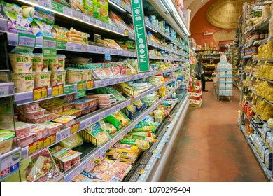 ROME, ITALY - CIRCA NOVEMBER 2017: inside Carrefour Express store in Rome. Carrefour Express is a convenience store chain owned and operated by French retailer Carrefour.