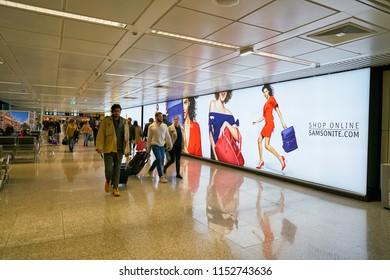 "ROME, ITALY - CIRCA NOVEMBER, 2017: Samsonite advertisement in Fiumicino International Airport ""Leonardo da Vinci"""