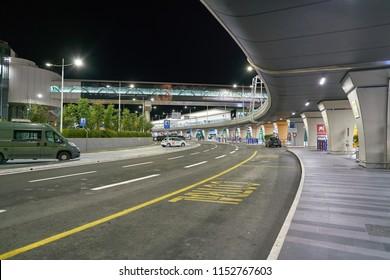 """ROME, ITALY - CIRCA NOVEMBER, 2017: Fiumicino International Airport """"Leonardo da Vinci"""" in the night"""