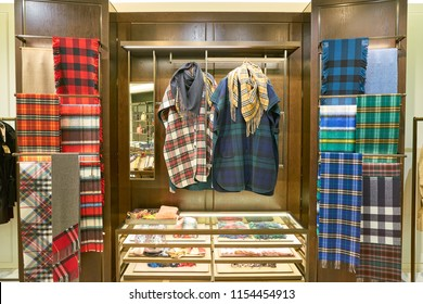 ROME, ITALY - CIRCA NOVEMBER, 2017: interior shot of Burberry store in Fiumicino International Airport. Burberry Group PLC is a British luxury fashion house.