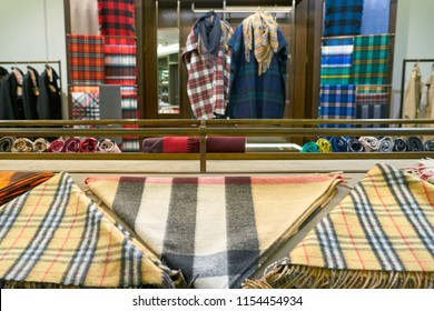ROME, ITALY - CIRCA NOVEMBER, 2017: clothing on display at Burberry store in Fiumicino International Airport. Burberry Group PLC is a British luxury fashion house.