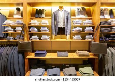 ROME, ITALY - CIRCA NOVEMBER, 2017: interior shot of Boggi Milano store in Fiumicino International Airport. Boggi Milano is an Italian menswear brand.