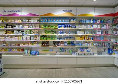 """ROME, ITALY - CIRCA NOVEMBER, 2017: Angelini health and care store in Fiumicino International Airport """"Leonardo da Vinci"""""""