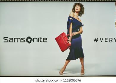 "ROME, ITALY - CIRCA NOVEMBER, 2017:  Samsonite advertisement poster in Fiumicino International Airport ""Leonardo da Vinci"""