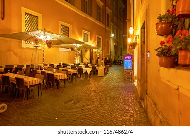 ROME, ITALY - CIRCA NOVEMBER, 2017: restaurant in Rome at night. Rome is the capital city of Italy.