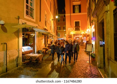 ROME, ITALY - CIRCA NOVEMBER, 2017: people walk in a street in Rome. Rome is the capital city of Italy.