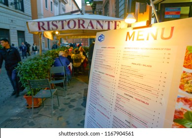 ROME, ITALY - CIRCA NOVEMBER, 2017: close up shot of menu at restaurnat in Rome. Rome is the capital city of Italy.
