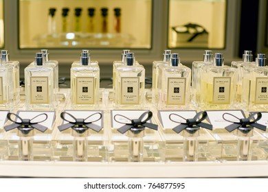 ROME, ITALY - CIRCA NOVEMBER, 2017: bottles of Jo Malone fragrance sit on display at a second flagship store of Rinascente in Rome.
