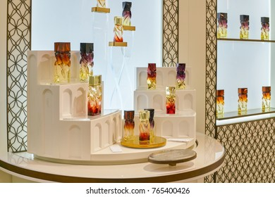 ROME, ITALY - CIRCA NOVEMBER, 2017: bottles of Christian Louboutin fragrance sit on display at a second flagship store of Rinascente in Rome.