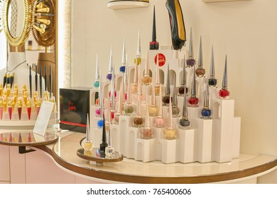ROME, ITALY - CIRCA NOVEMBER, 2017: Christian Louboutin nail polish sit on display at a second flagship store of Rinascente in Rome.