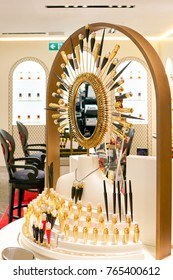 ROME, ITALY - CIRCA NOVEMBER, 2017: Christian Louboutin beauty products sit on display at a second flagship store of Rinascente in Rome.