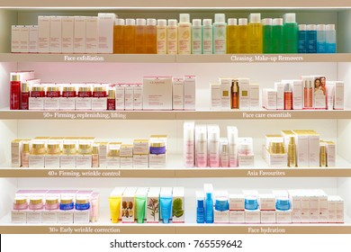 ROME, ITALY - CIRCA NOVEMBER, 2017: Clarins beauty products sit on display at a second flagship store of Rinascente in Rome. Clarins is a French luxury skin care, cosmetics and perfume company