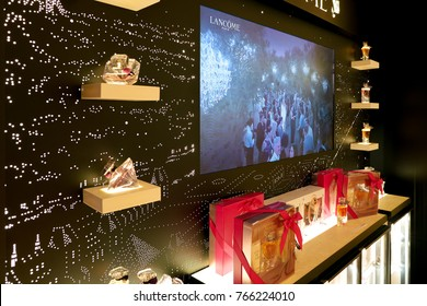 ROME, ITALY - CIRCA NOVEMBER, 2017: Lancome products sit on display at a second flagship store of Rinascente in Rome.