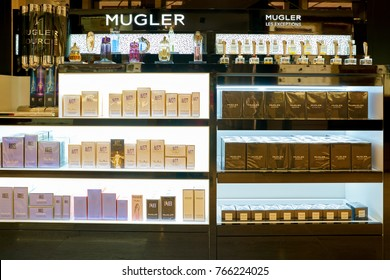 ROME, ITALY - CIRCA NOVEMBER, 2017: bottles of Mugler fragrance sit on display at a second flagship store of Rinascente in Rome.