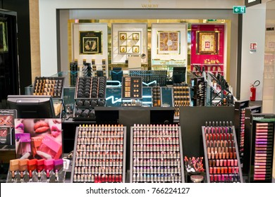 ROME, ITALY - CIRCA NOVEMBER, 2017: MAC Cosmetics sit on display at a second flagship store of Rinascente in Rome.