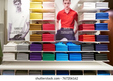 ROME, ITALY - CIRCA NOVEMBER, 2017: Lacoste clothing on display at a second flagship store of Rinascente in Rome.