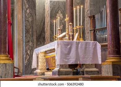 "ROME, ITALY - CIRCA OCTOBER 2016 - High altar in the catholic church during the traditional latin mass ""ad orientem"", the extraordinary form"