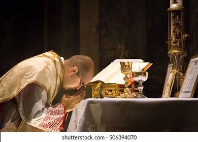 ROME, ITALY - CIRCA OCTOBER 2016 - Catholic priest celebrating the old rite traditional latin mass