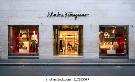 ROME, ITALY - CIRCA OCTOBER, 2016: Salvatore Ferragamo store in via Condotti. Salvatore Ferragamo is an Italian luxury company founded in 1928.