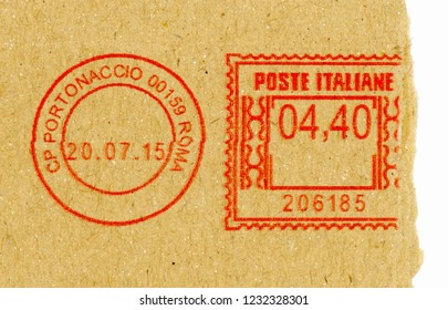 ROME, ITALY - CIRCA OCTOBER 2018: postage meter stamp on letter envelope