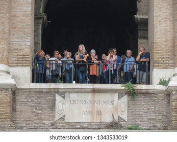 ROME, ITALY - CIRCA OCTOBER 2018: unidentified tourists visiting the Colosseum (Colosseo) aka Coliseum