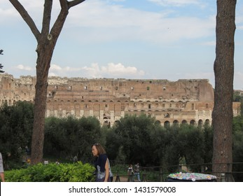 ROME, ITALY - CIRCA OCTOBER 2018: Colosseum (Colosseo) aka Coliseum with tourists on Palatine hill