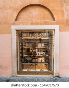 Rome, Italy - Circa October 2019: Gucci boutique in Rome, Italy. Gucci is Italian luxury brand of fashion goods, part of the Gucci Group.