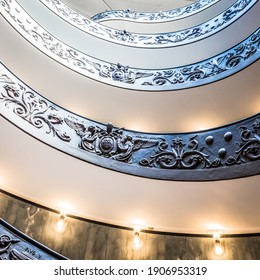 ROME, ITALY - CIRCA SEPTEMBER 2020: the famous spiral staircase with double helix made by Giuseppe Momo in 1932. Vatican Museum.